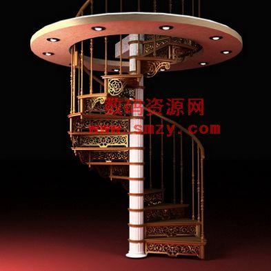 欧式旋转楼梯3d模型下载