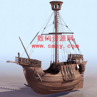 木制古帆船3D模型7下载图片