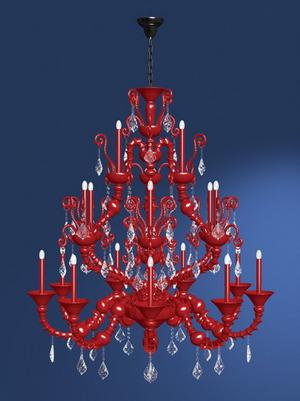 是一款红色水晶吊灯模型