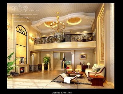 欧式豪华别墅客厅3d模型