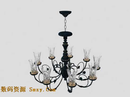 客厅灯具3d模型 欧式铁艺吊灯