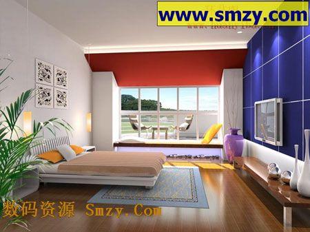 室内3d模型 带电视卧室装修设计效果图高清图片