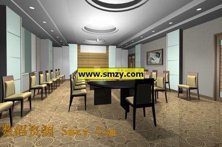 公司企业会议室装修设计3d模型下载图片