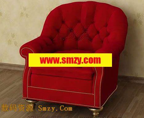 具有欧式古典风格设计的单人沙发模型