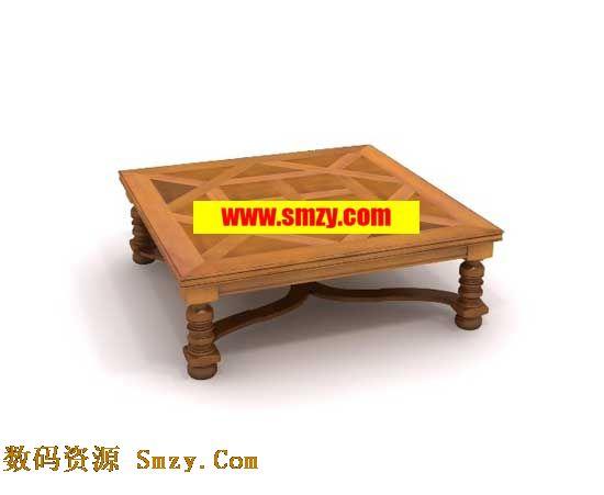 茶几3d模型 中式木质茶几下载