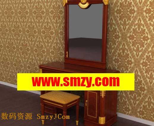 家具3d模型 中式梳妆台