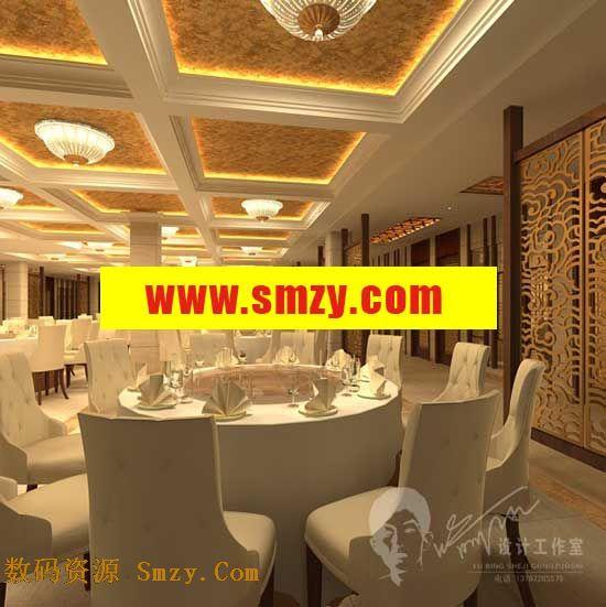 欧式豪华酒店餐厅设计3d模型