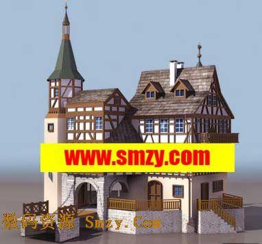 室外建筑3d模型 欧式楼房别墅下载