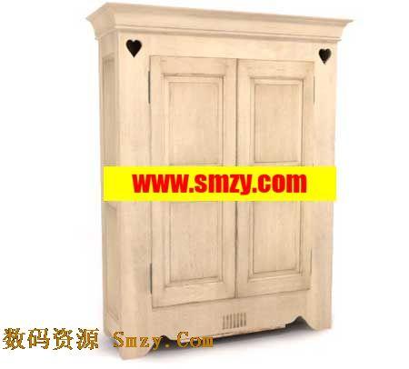 欧式古典木质衣柜橱柜模型下载图片