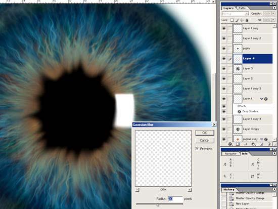19.缩小图层至虹膜的中心,给那个位置增加一定的深度.-photoshop教