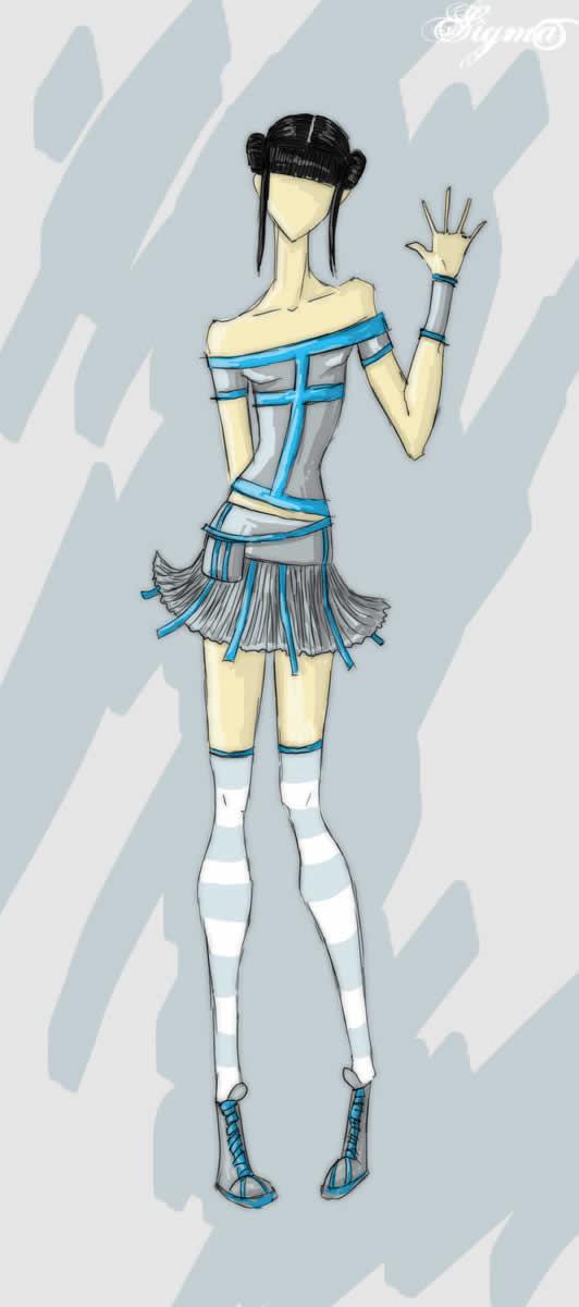 服装效彩铅手绘图片