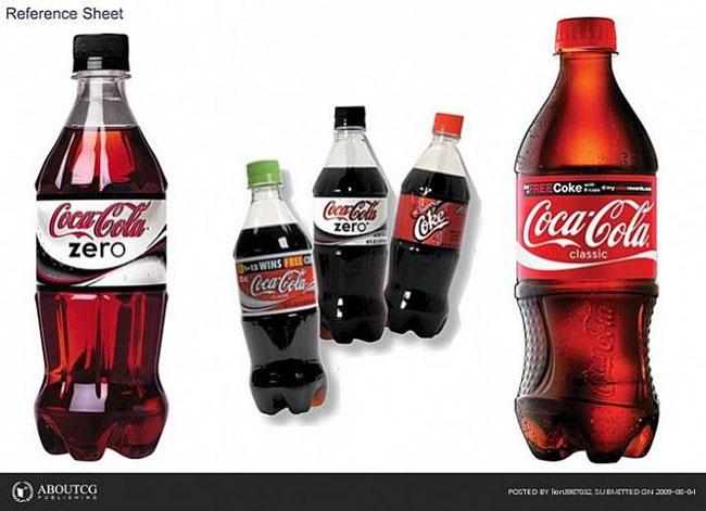 这个教程我们将制作可口可乐的经典之作,我们将这种瓶子分为3个大部