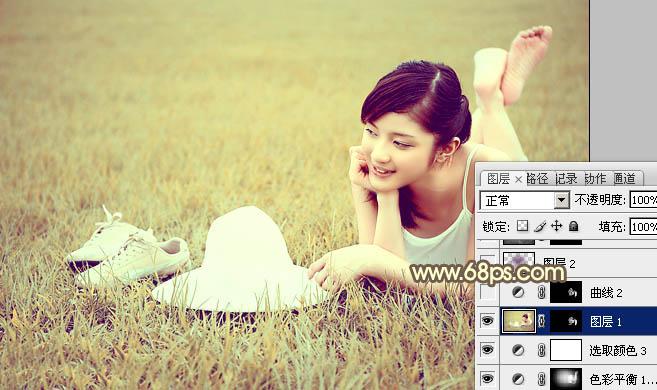 Photoshop外景调色教程打造粉黄色图片照片少女女生狠罚自图片