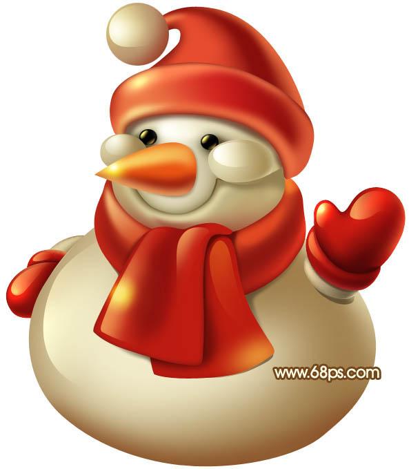 photoshop鼠绘教程 制作圣诞节可爱的3d圣诞雪人