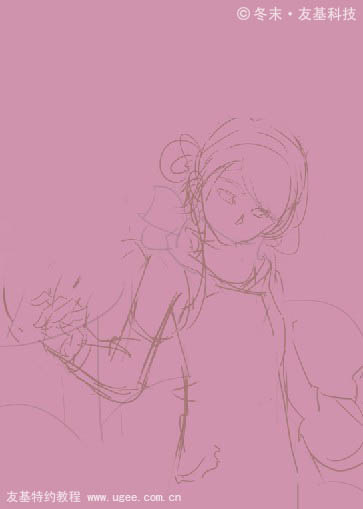 手绘少女壁纸粉色