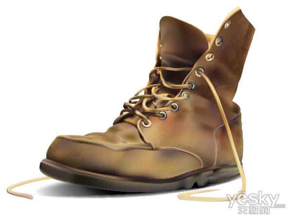 Illustrator教程 用渐变网格工具绘制旧皮靴