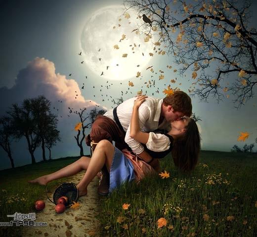 月色真美手绘情侣头像