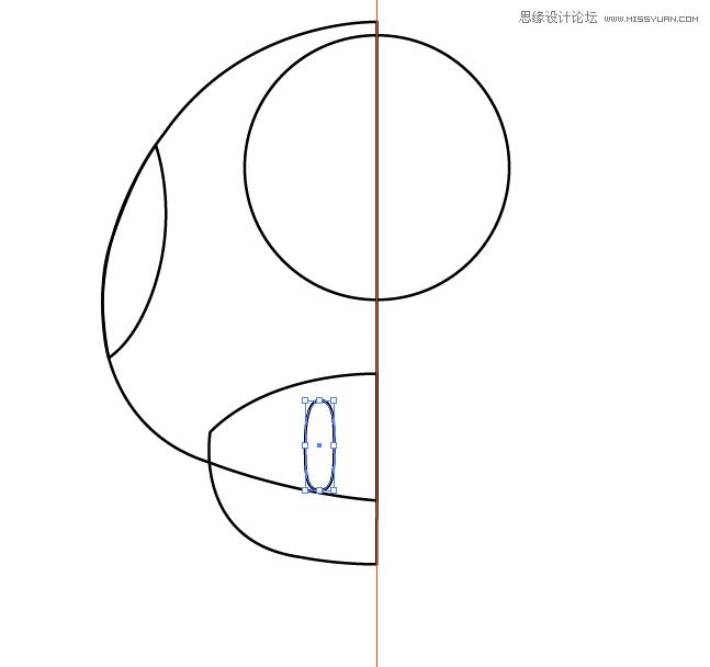 最后,使用椭圆工具(l),绘制一个椭圆,并使用直接选择工具(a)调整.