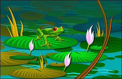 荷叶上的青蛙psd分层素材图片