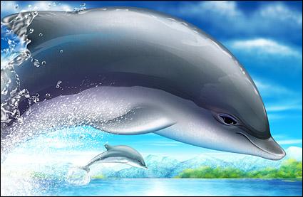 数码资源网 资源下载 平面素材 psd素材 动物 → 超酷的跳跃海豚psd