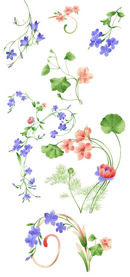 手绘时尚花卉花纹psd分层素材,发挥您的创意,做出时尚华丽的作品&