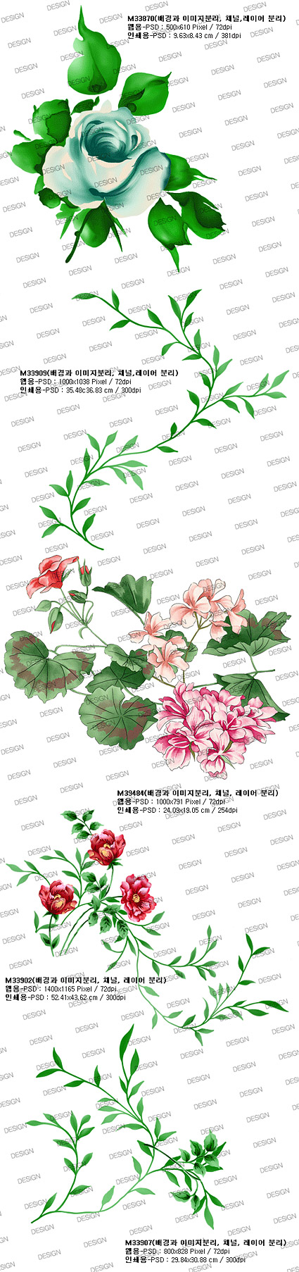 时尚花卉与叶子psd分层素材