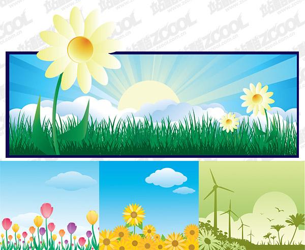数码资源网 资源下载 平面素材 矢量素材 风景 → 花朵主题插画 矢量