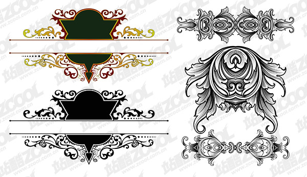 欧式华丽古典花纹 2款 矢量素材