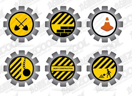 道路维修指示牌矢量图