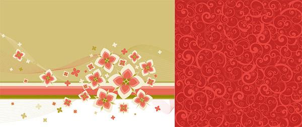 可爱花朵与时尚花纹背景矢量图