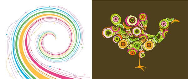 孔雀图形与旋转线条矢量图