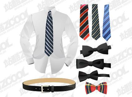 衬衣领带皮带矢量图