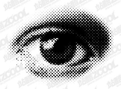 圆形网点眼睛矢量图