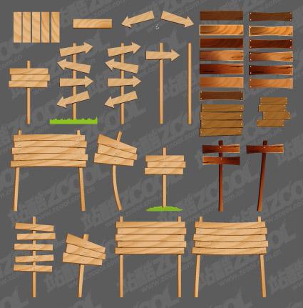 木纹箭头指示牌矢量图