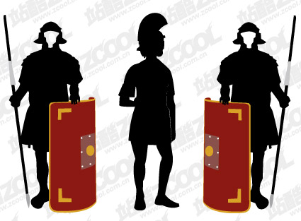 外国武士盔甲剪影矢量图