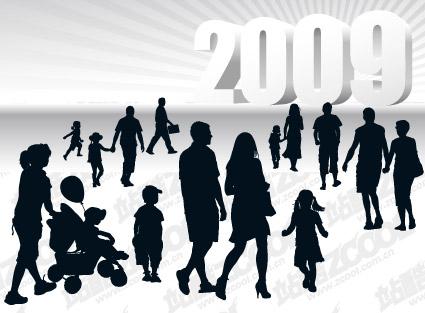 人物剪影与立体2009矢量图