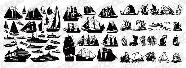 帆船船只剪影矢量图 多款