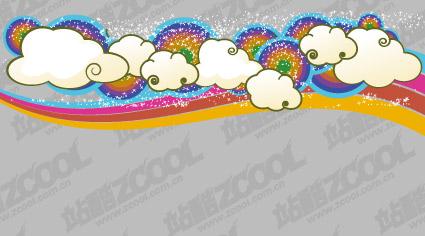 卡通云朵彩虹背景 矢量素材