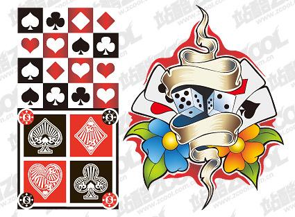多彩扑克牌元素矢量素材下载