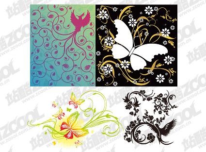 蝴蝶/鸟/花纹组合矢量素材