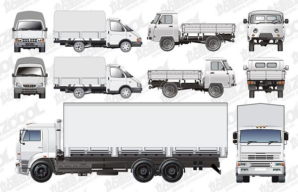 n款货车矢量图下载- 货运卡车集装箱