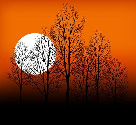 日落树木剪影矢量素材图