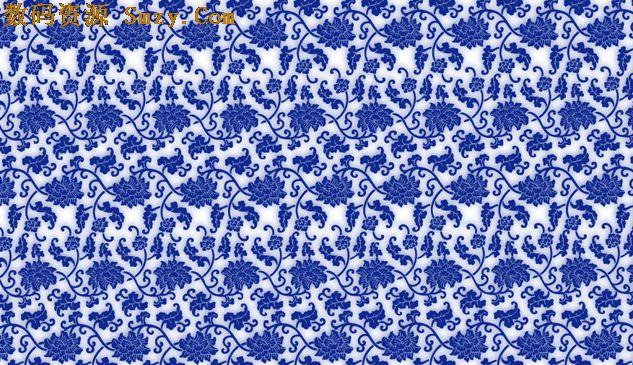 叶子蓝色花纹矢量图