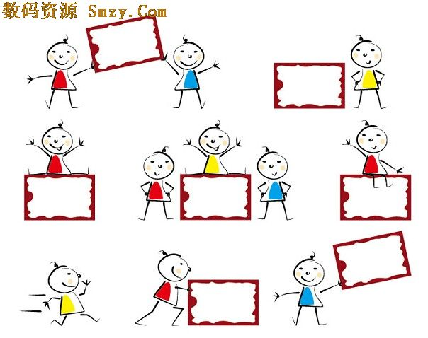 可爱小孩与公告板矢量图