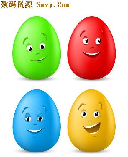 卡通彩色鸡蛋矢量图
