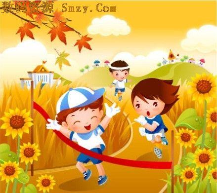卡通儿童跑步矢量素材