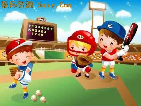 卡通儿童棒球运动矢量图