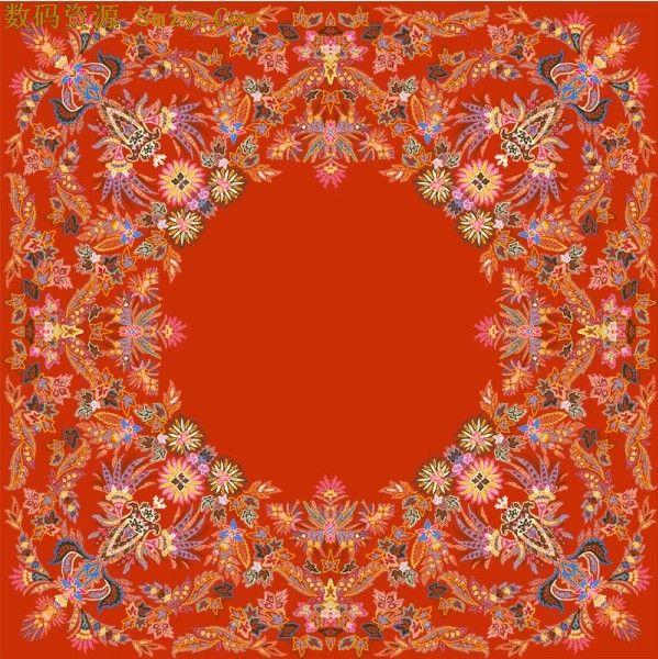 红色欧式边框底纹psd素材