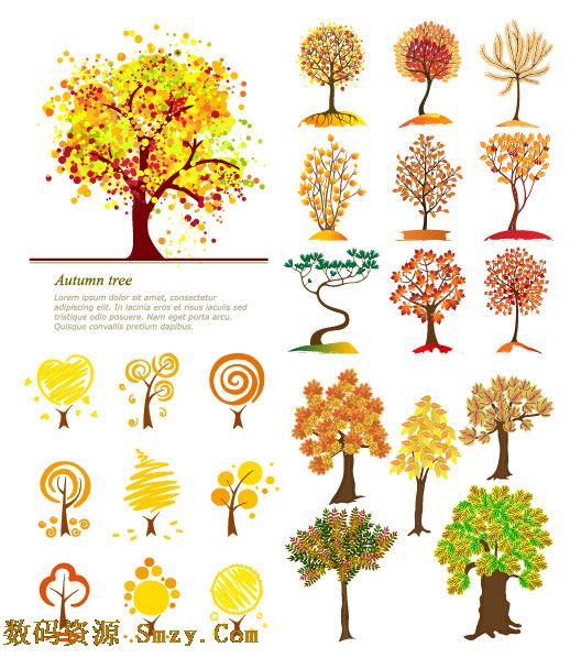 秋天枯黄的树木矢量素材