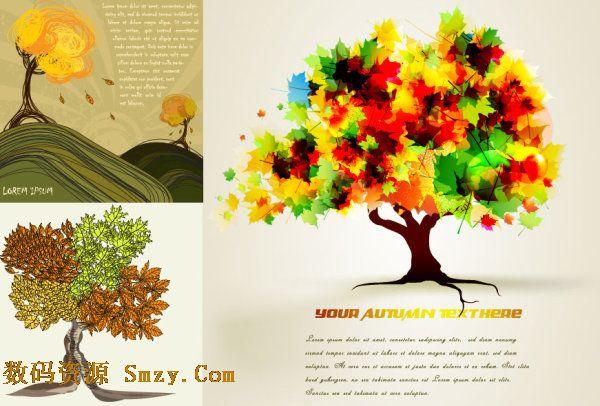 手绘卡通秋天树木背景矢量素材